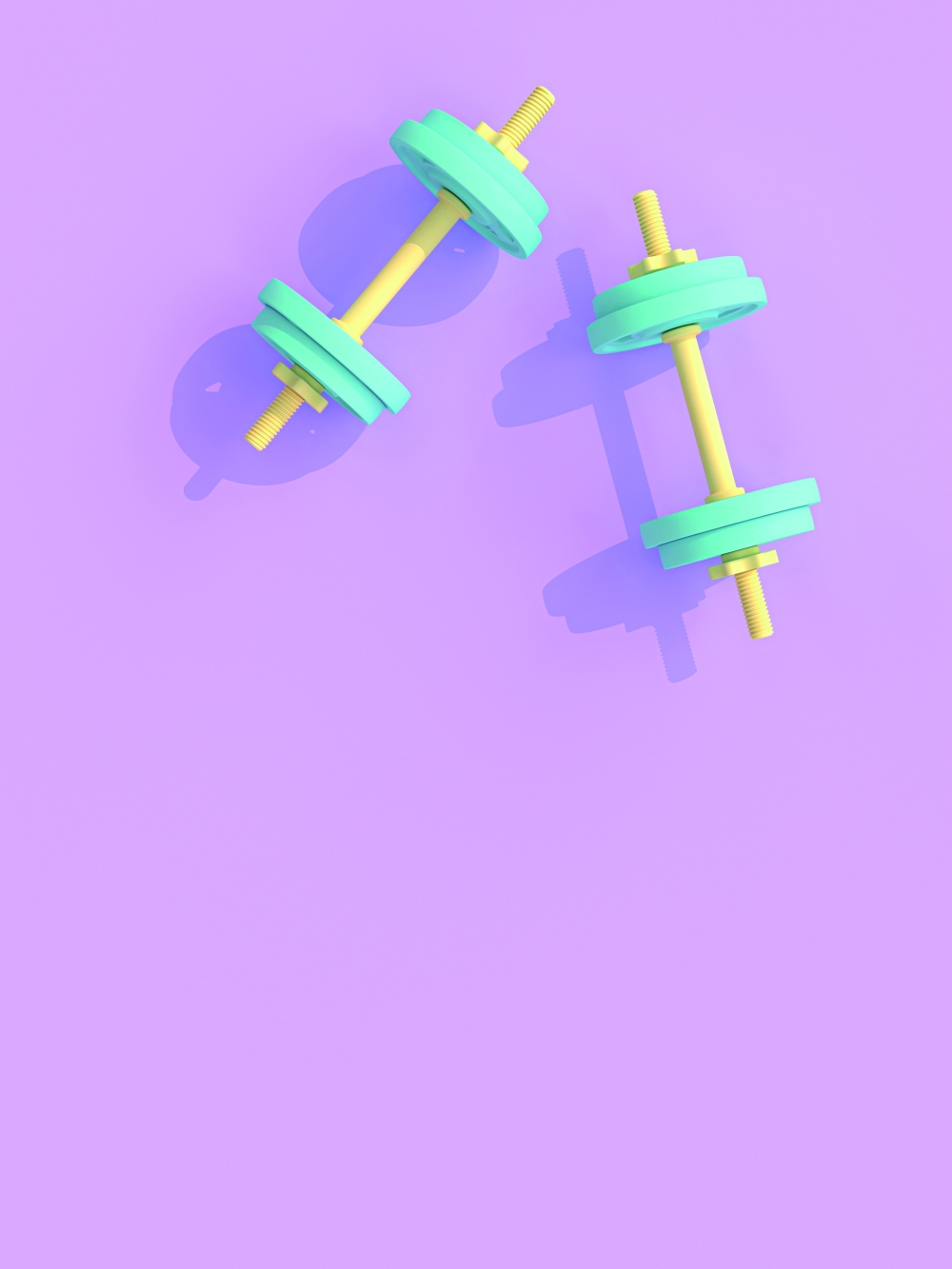 yellow and blue dumbbells on violet background.