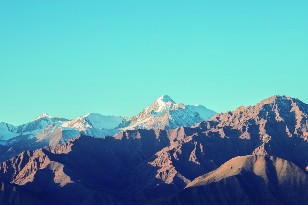 Beautiful landscape in Himalaya mountain range and Snow and cloudy in Ladakh region state of Jammu and Kashmir, Northern part of India